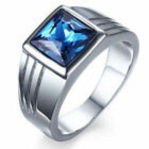 Men Blue Topaz Silver Ring